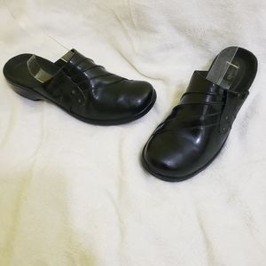 Clarks Leather Black Mules Clogs Slides Wedges